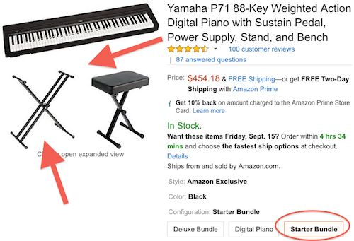 Yamaha P-71 Starter Bundle – Amazon screenshot (showing X Stand)