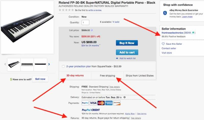 Roland FP-30 listing on eBay